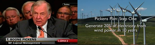 the pickens plan aims to generate 20% of electricity from wind power in ten years, while burning natural gas in cars and trucks in place of gasoline